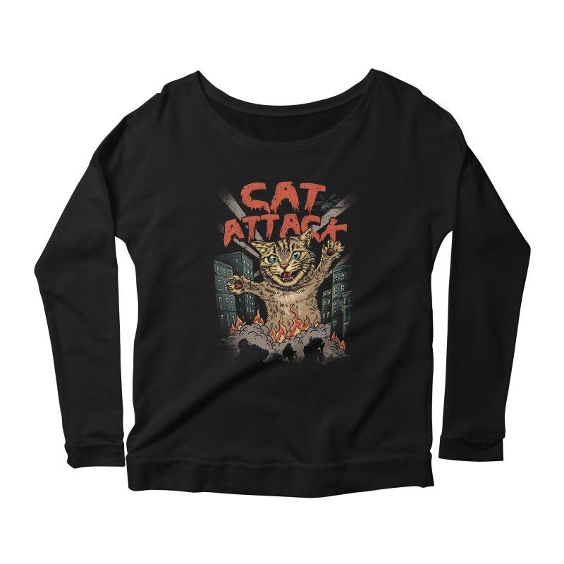 Cat Attack Women's Longsleeve Scoopneck  by vincenttrinidad's Artist Shop