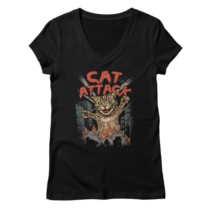 Cat Attack Women's V-Neck by vincenttrinidad's Artist Shop