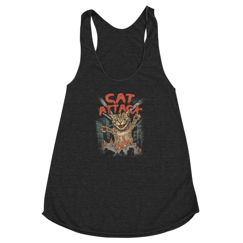 Cat Attack Women's Racerback Triblend Tank by vincenttrinidad's Artist Shop