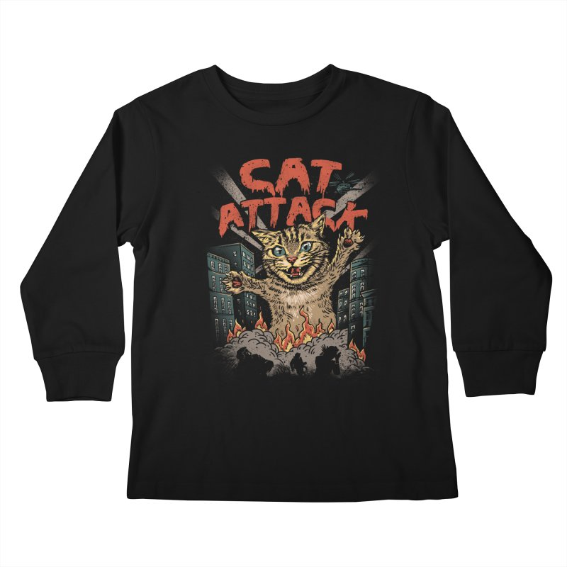 Cat Attack Kids Longsleeve T-Shirt by vincenttrinidad's Artist Shop