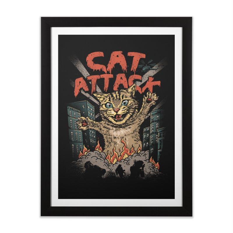 Cat Attack Home Framed Fine Art Print by vincenttrinidad's Artist Shop