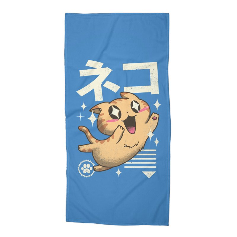 Kawaii Feline Accessories Beach Towel by Vincent Trinidad Art