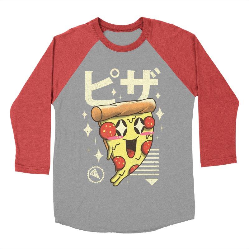 Kawaii Pizza Men's Baseball Triblend T-Shirt by vincenttrinidad's Artist Shop