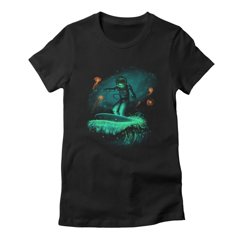 Space Surfer Women's Fitted T-Shirt by vincenttrinidad's Artist Shop