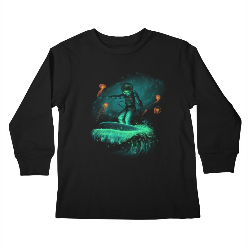 Space Surfer Kids Longsleeve T-Shirt by vincenttrinidad's Artist Shop