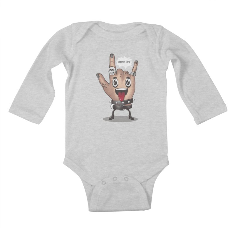 Rock On Kids Baby Longsleeve Bodysuit by vincenttrinidad's Artist Shop
