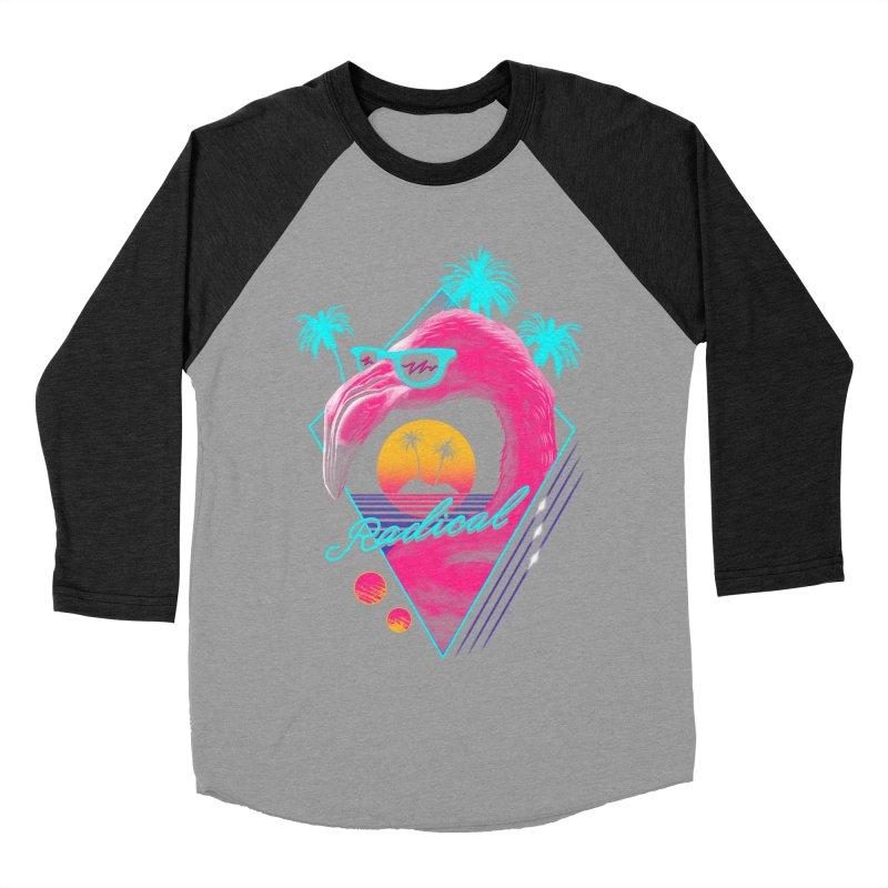 Rad Flamingo Men's Baseball Triblend T-Shirt by vincenttrinidad's Artist Shop