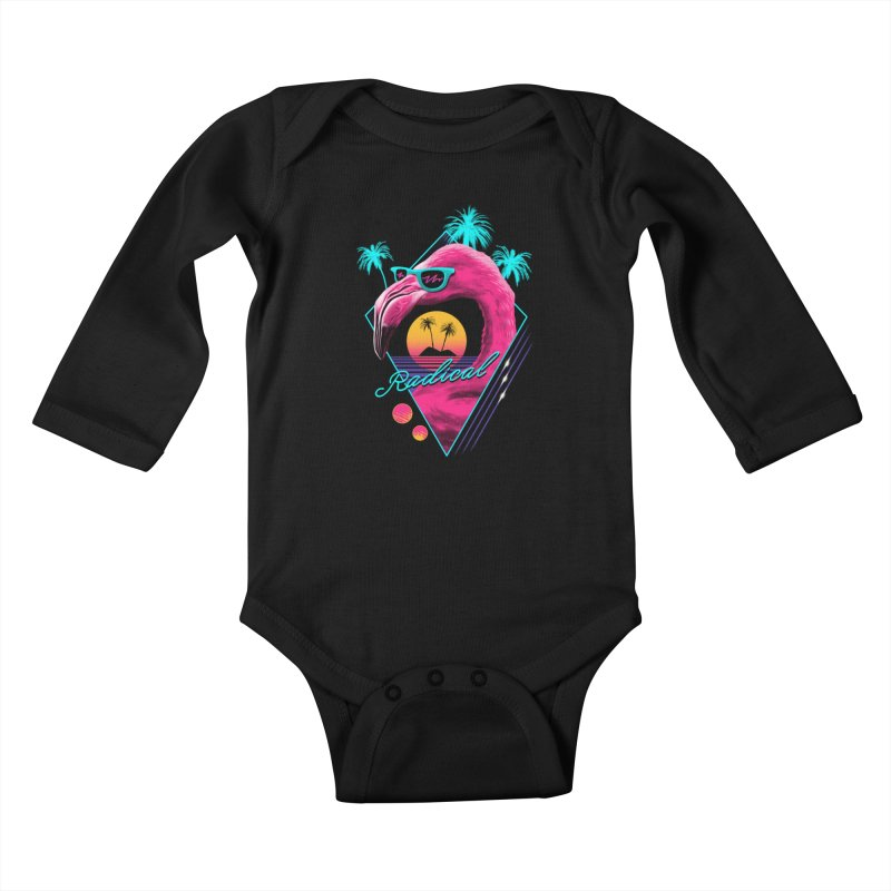 Rad Flamingo Kids Baby Longsleeve Bodysuit by vincenttrinidad's Artist Shop