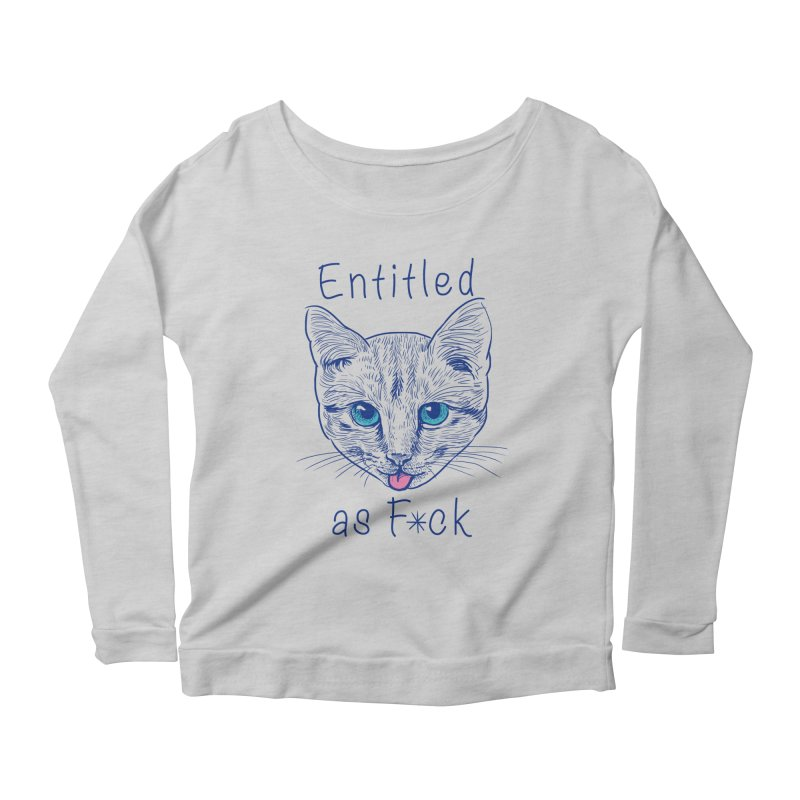 Entitled Cat Women's Longsleeve Scoopneck  by vincenttrinidad's Artist Shop