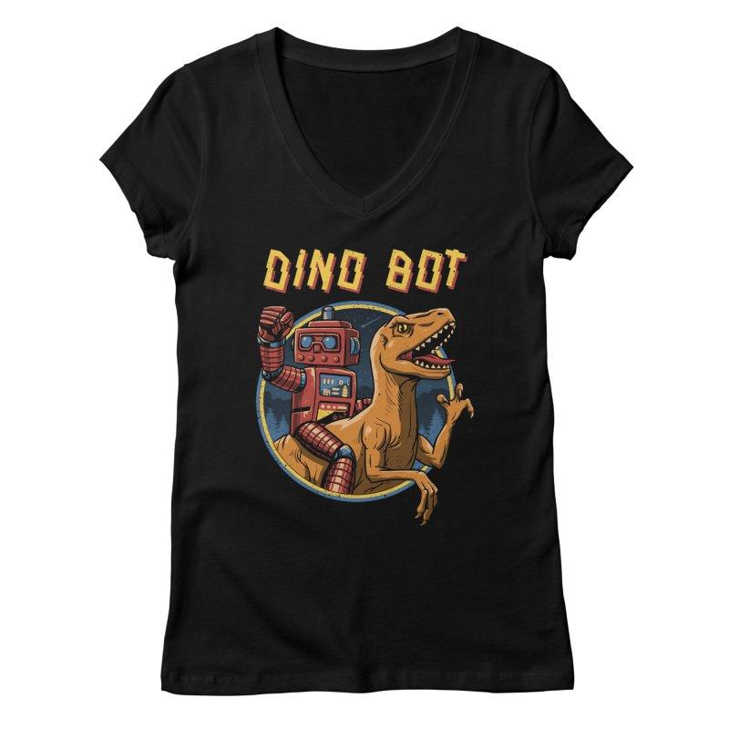 Dino Bot Women's V-Neck by vincenttrinidad's Artist Shop