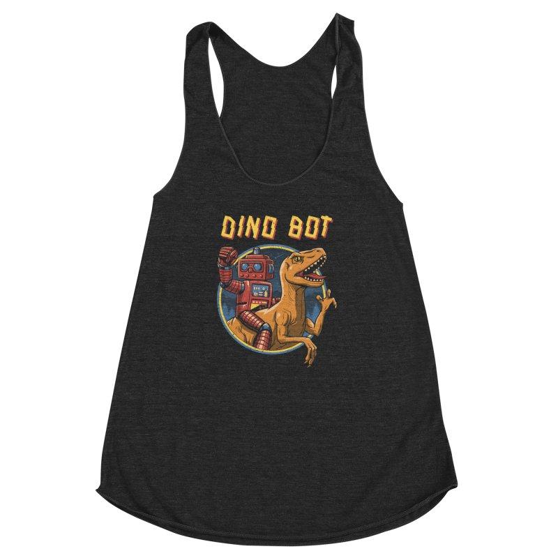 Dino Bot Women's Racerback Triblend Tank by vincenttrinidad's Artist Shop