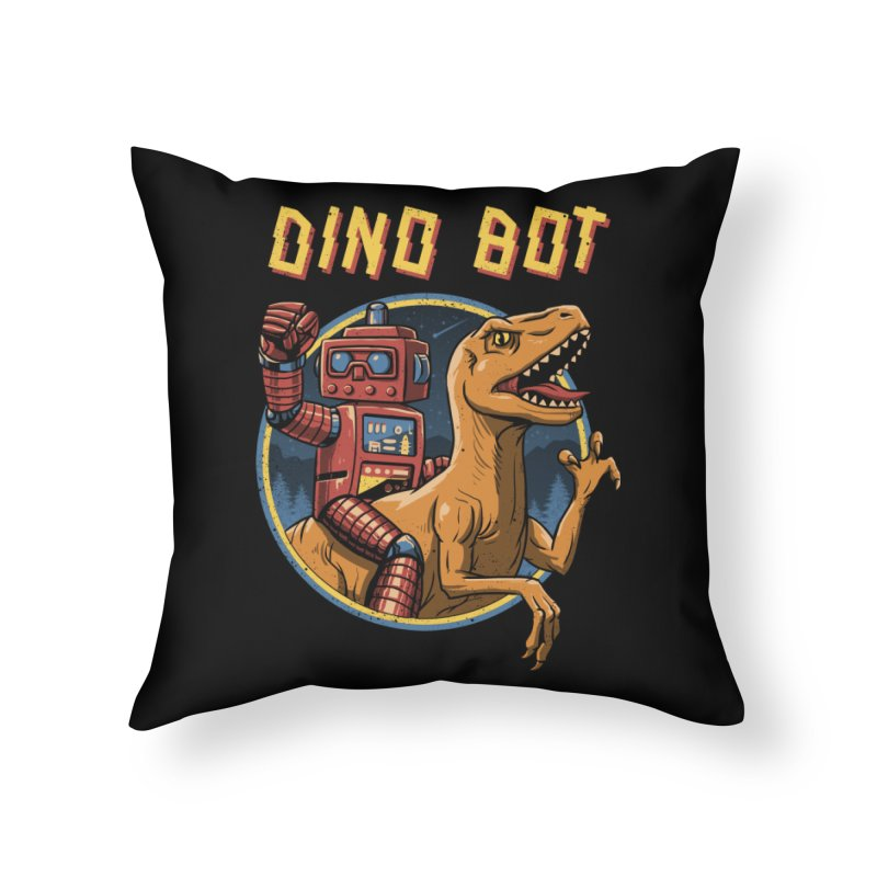 Dino Bot Home Throw Pillow by vincenttrinidad's Artist Shop
