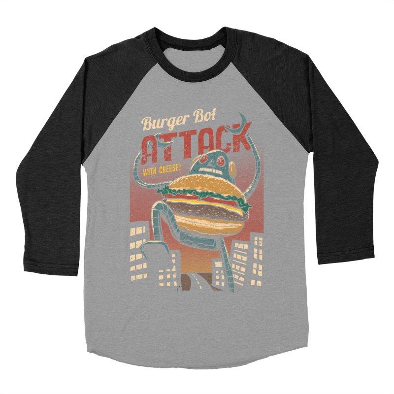Burger Bot Men's Baseball Triblend T-Shirt by vincenttrinidad's Artist Shop