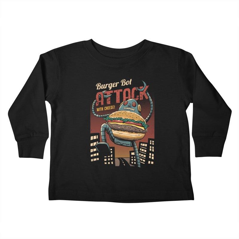Burger Bot Kids Toddler Longsleeve T-Shirt by vincenttrinidad's Artist Shop