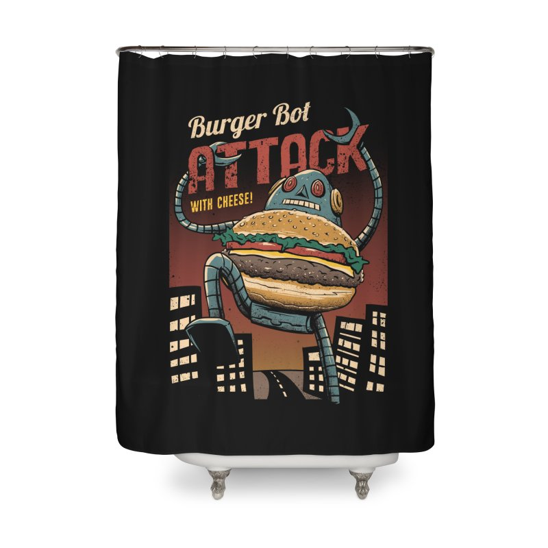 Burger Bot Home Shower Curtain by vincenttrinidad's Artist Shop