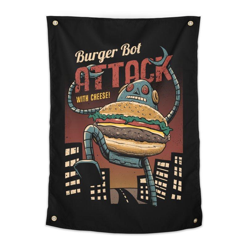 Burger Bot Home Tapestry by vincenttrinidad's Artist Shop