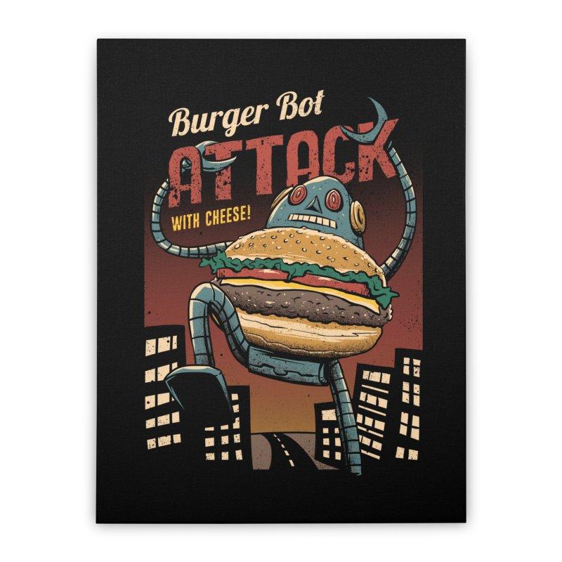 Burger Bot Home Stretched Canvas by vincenttrinidad's Artist Shop