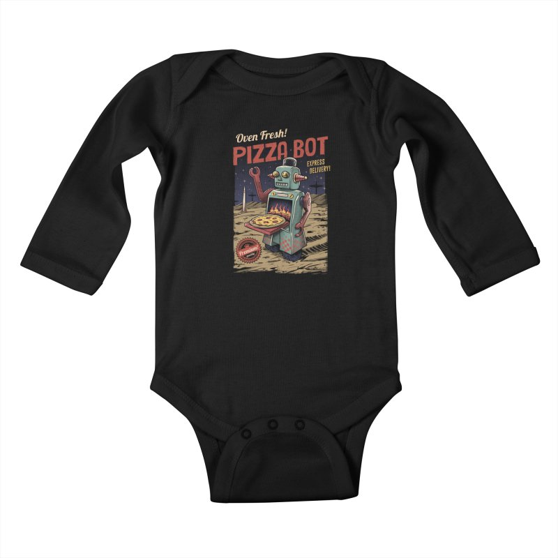 Pizza Bot Kids Baby Longsleeve Bodysuit by vincenttrinidad's Artist Shop