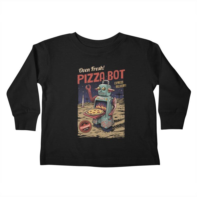 Pizza Bot Kids Toddler Longsleeve T-Shirt by vincenttrinidad's Artist Shop