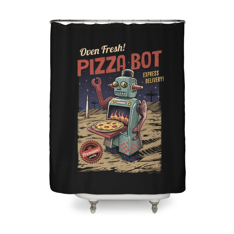 Pizza Bot Home Shower Curtain by vincenttrinidad's Artist Shop