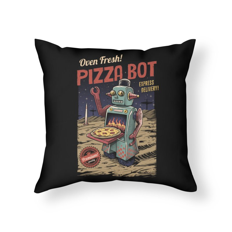Pizza Bot Home Throw Pillow by vincenttrinidad's Artist Shop