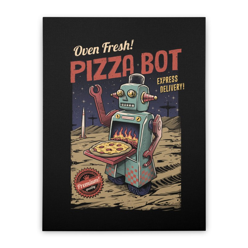 Pizza Bot Home Stretched Canvas by vincenttrinidad's Artist Shop