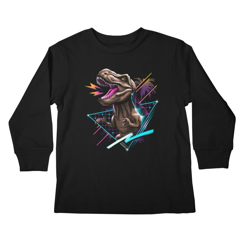 Rad T-Rex Kids Longsleeve T-Shirt by Vincent Trinidad Art