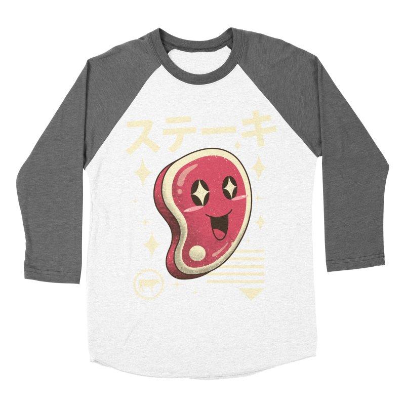Kawaii Steak Men's Baseball Triblend T-Shirt by vincenttrinidad's Artist Shop