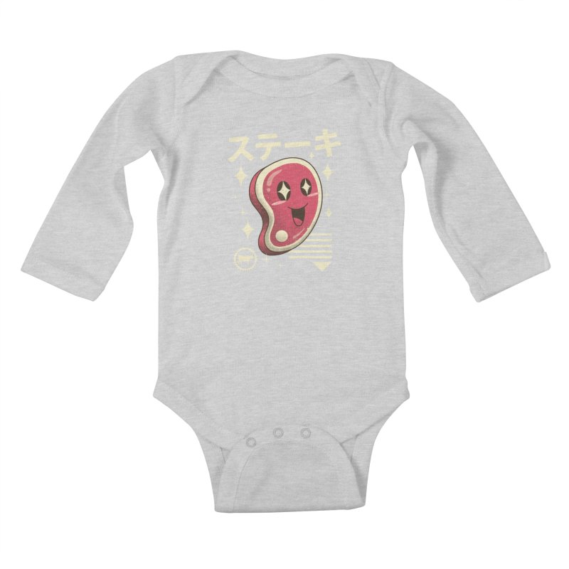 Kawaii Steak Kids Baby Longsleeve Bodysuit by vincenttrinidad's Artist Shop