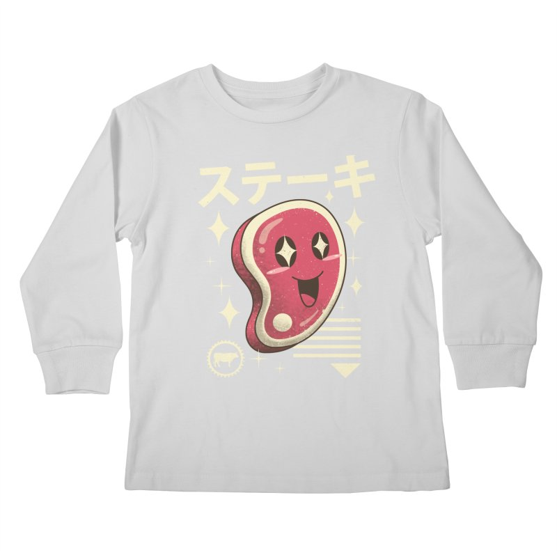 Kawaii Steak Kids Longsleeve T-Shirt by vincenttrinidad's Artist Shop