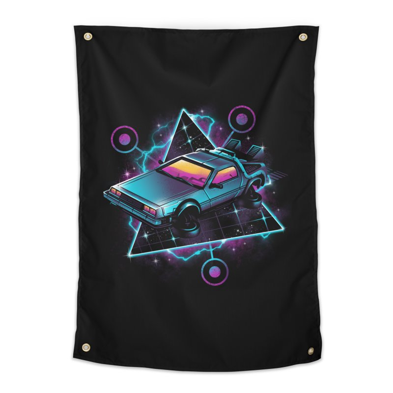 Retro Wave Time Machine Home Tapestry by vincenttrinidad's Artist Shop