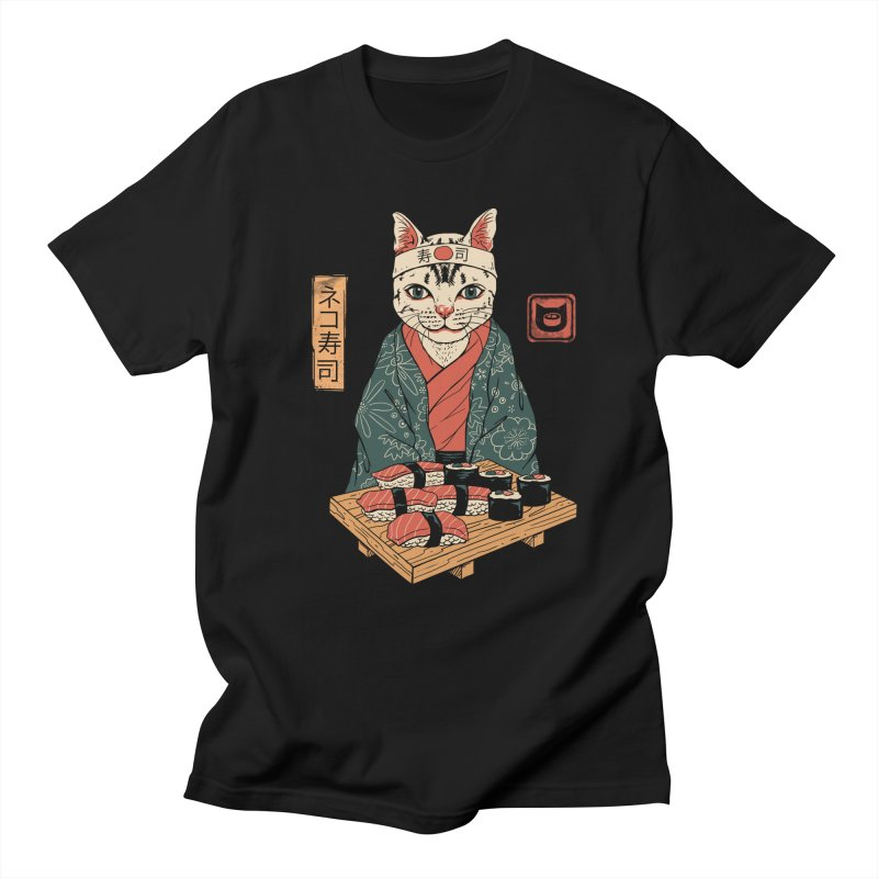 Neko Sushi Bar in Men's Regular T-Shirt Black by Vincent Trinidad Art