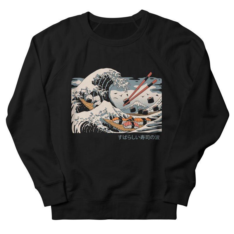 The Great Sushi Wave Men's French Terry Sweatshirt by vincenttrinidad's Artist Shop