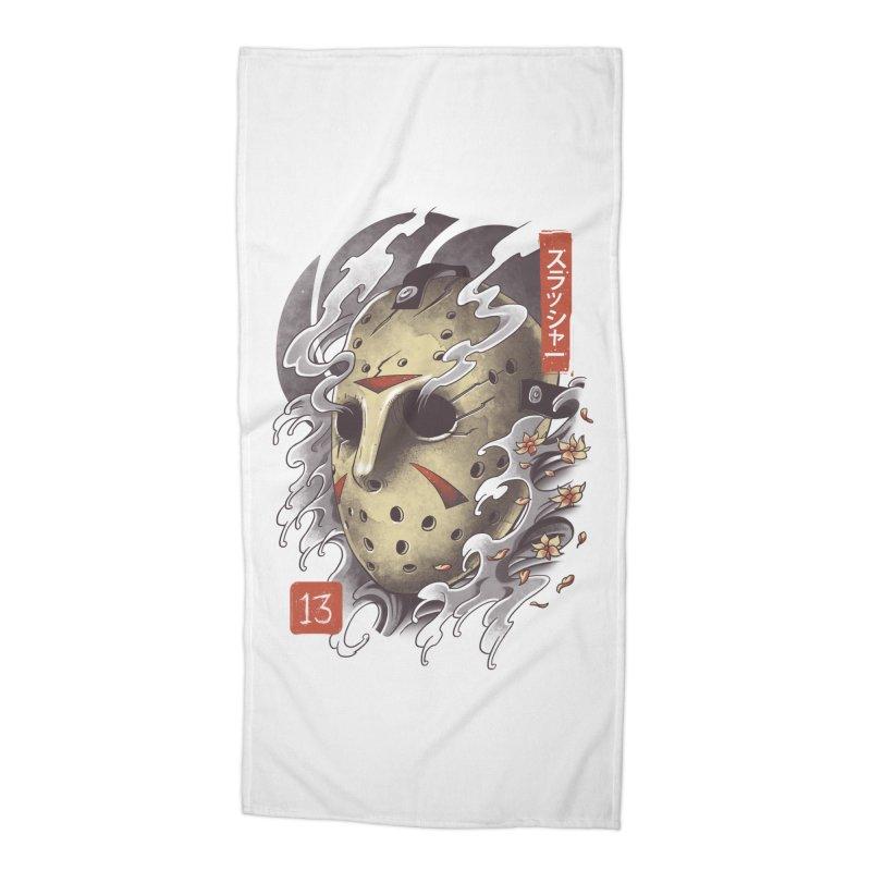 Oni Jason Mask Accessories Beach Towel by vincenttrinidad's Artist Shop
