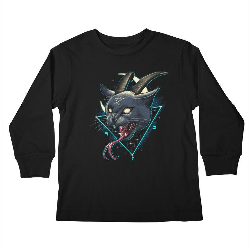 Rad Devil Cat Kids Longsleeve T-Shirt by vincenttrinidad's Artist Shop