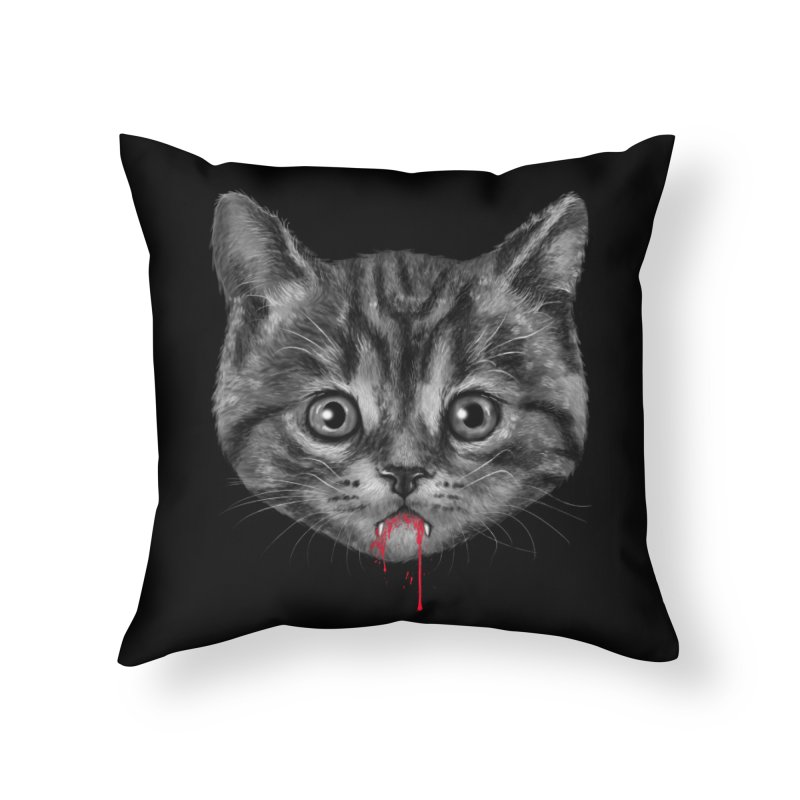 Black Pussy Cat Home Throw Pillow by vincenttrinidad's Artist Shop