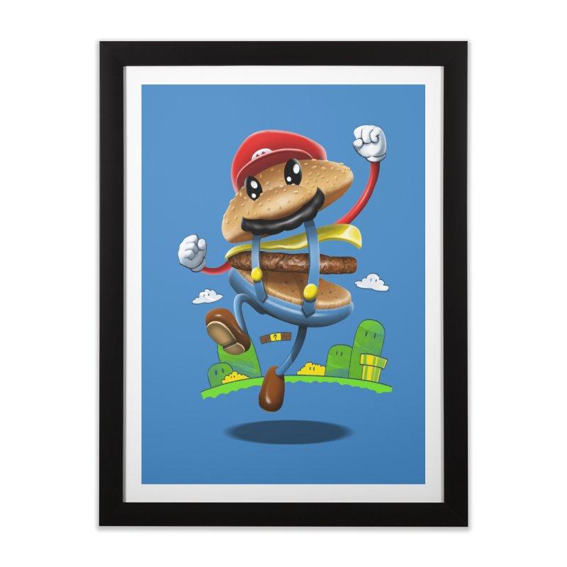Super Mario Burger Home Framed Fine Art Print by vincenttrinidad's Artist Shop