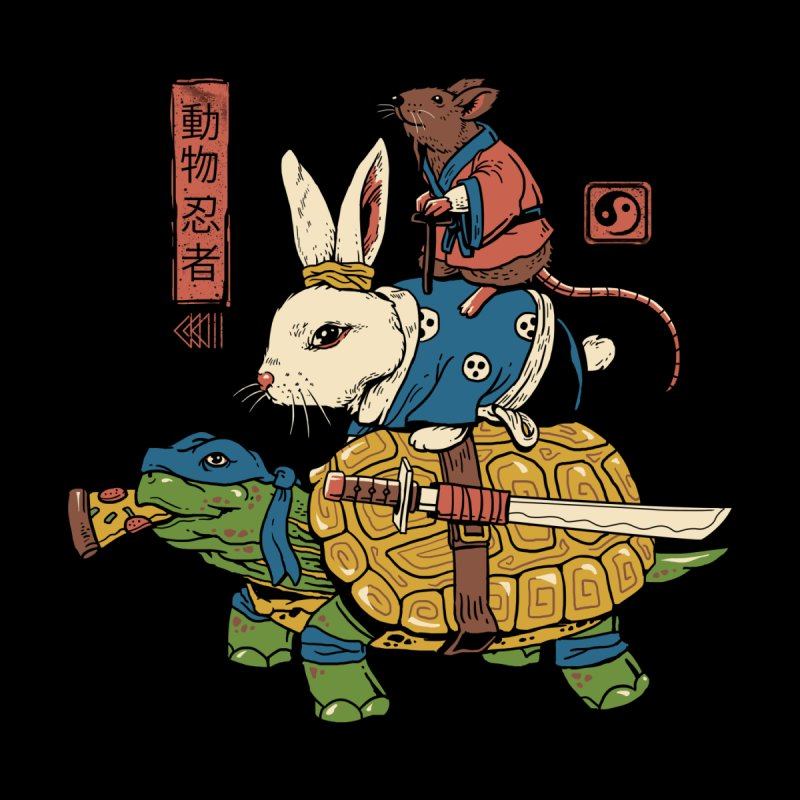 Kame, Usagi and Ratto Ninjas Men's T-Shirt by Vincent Trinidad Art