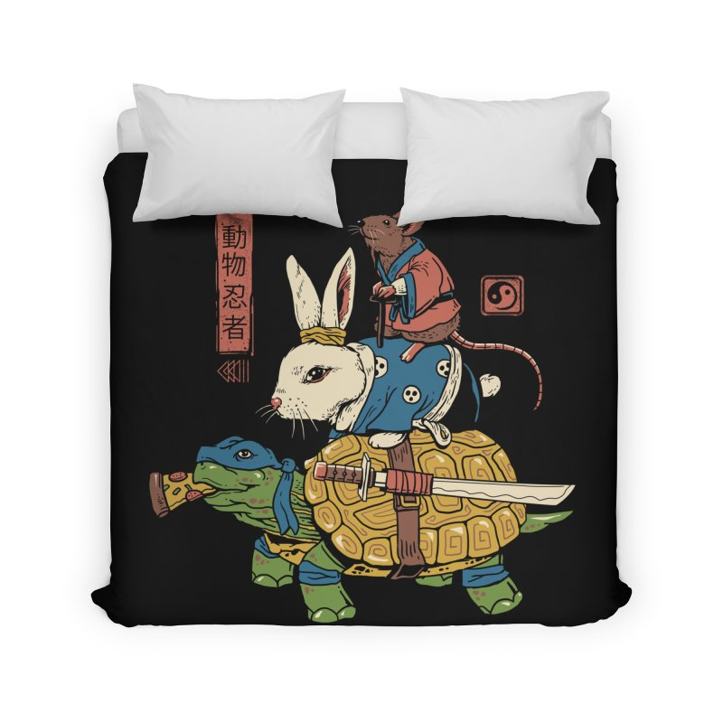 Kame, Usagi and Ratto Ninjas Home Duvet by vincenttrinidad's Artist Shop