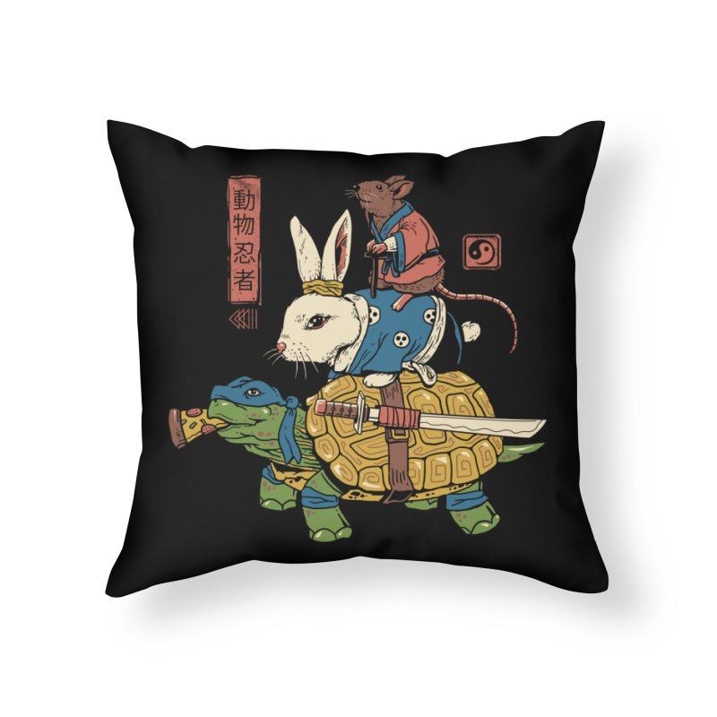 Kame, Usagi and Ratto Ninjas Home Throw Pillow by vincenttrinidad's Artist Shop