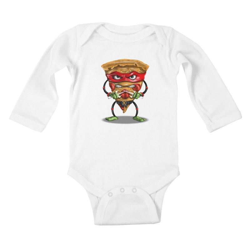 PIZZA NINJA Kids Baby Longsleeve Bodysuit by vincenttrinidad's Artist Shop