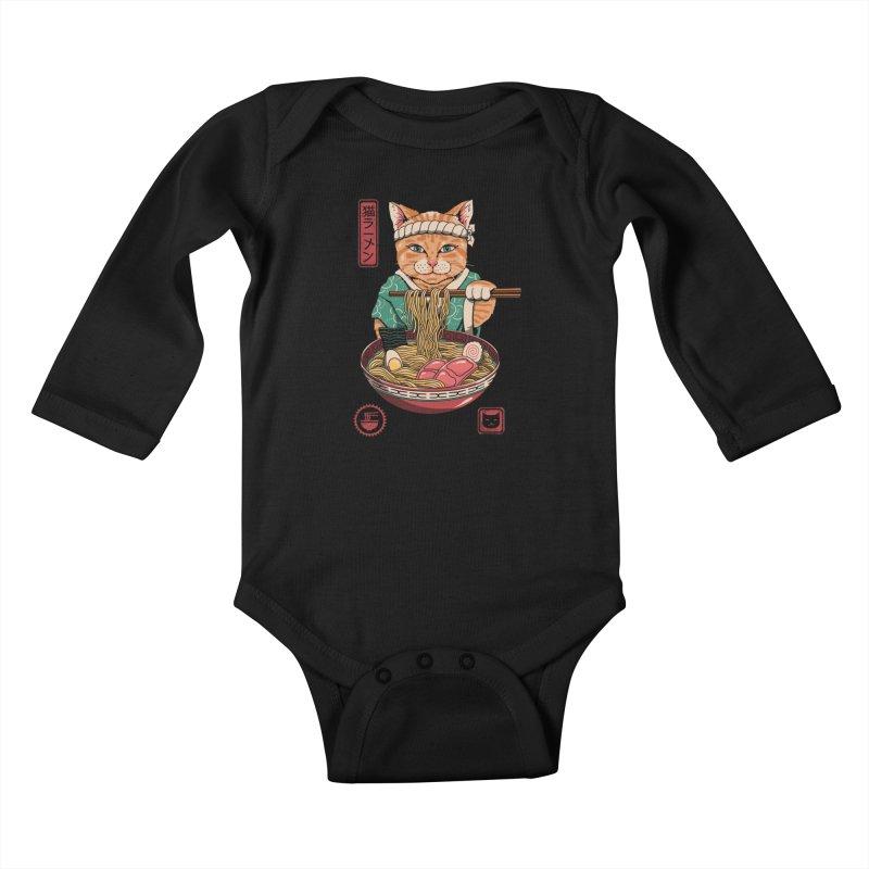 Neko Ramen Kids Baby Longsleeve Bodysuit by Vincent Trinidad Art