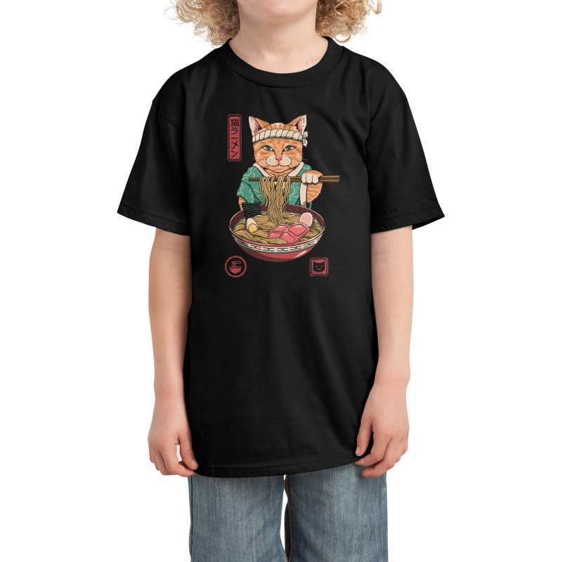 Neko Ramen Kids T-Shirt by Vincent Trinidad Art
