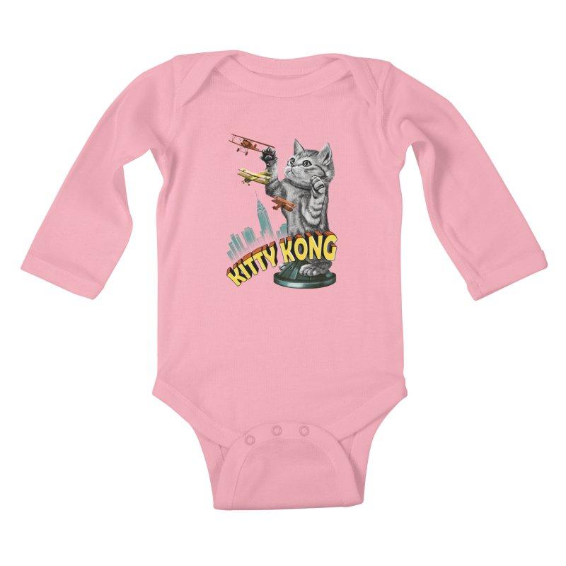 Kitty Kong Kids Baby Longsleeve Bodysuit by vincenttrinidad's Artist Shop