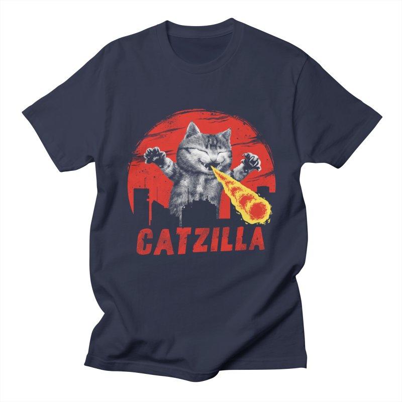 Catzilla in Men's Regular T-Shirt Navy by vincenttrinidad's Artist Shop
