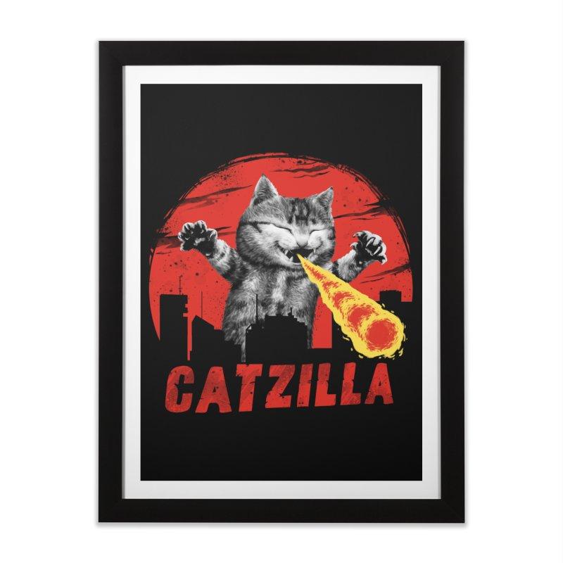 Catzilla Home Framed Fine Art Print by vincenttrinidad's Artist Shop