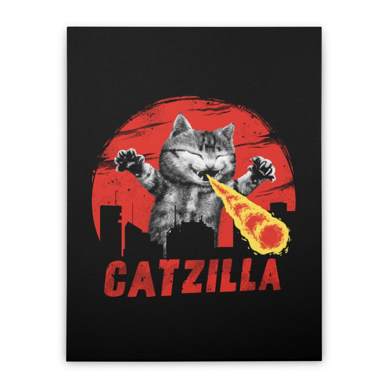 Catzilla Home Stretched Canvas by vincenttrinidad's Artist Shop
