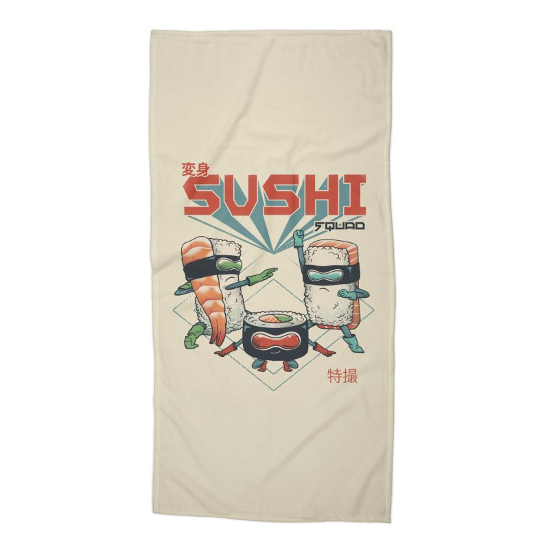 Sushi Squad Accessories Beach Towel by Vincent Trinidad Art
