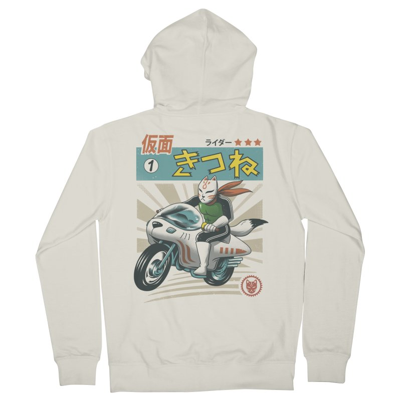 Kitsune Kamen Rider Men's French Terry Zip-Up Hoody by Vincent Trinidad
