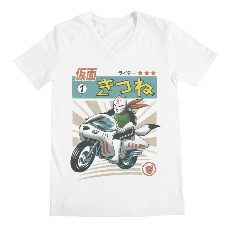 Kitsune Kamen Rider Men's Regular V-Neck by vincenttrinidad's Artist Shop